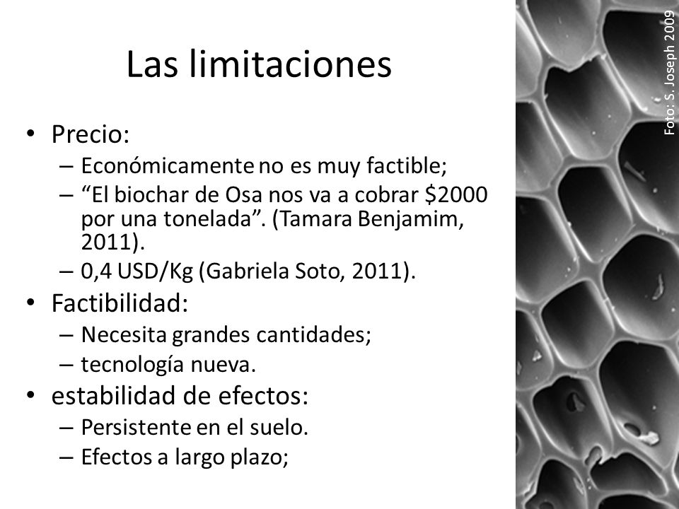 Las limitaciones Precio: Factibilidad: estabilidad de efectos: