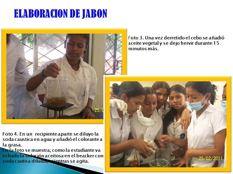 ELABORACION DE JABONFoto 3. Una vez derretido el cebo se añadió aceite vegetal y se dejo hervir durante 15 minutos más.