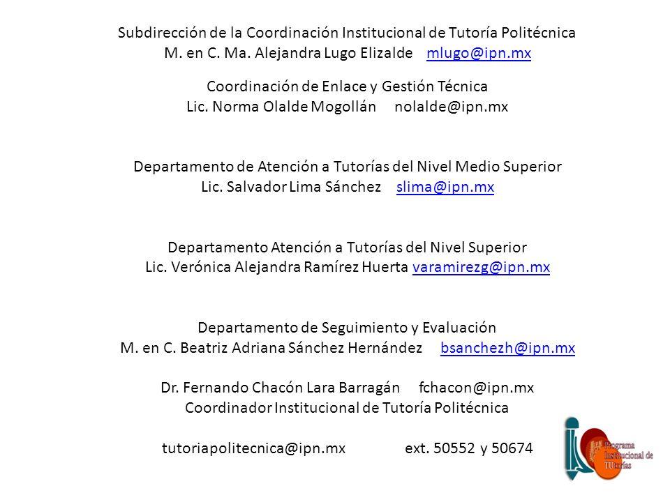 Subdirección de la Coordinación Institucional de Tutoría Politécnica M