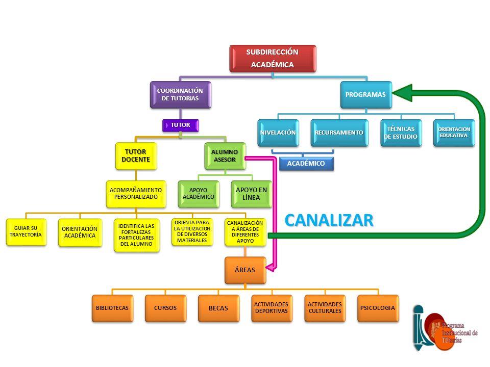 CANALIZAR SUBDIRECCIÓN ACADÉMICA COORDINACIÓN DE TUTORíAS TUTOR