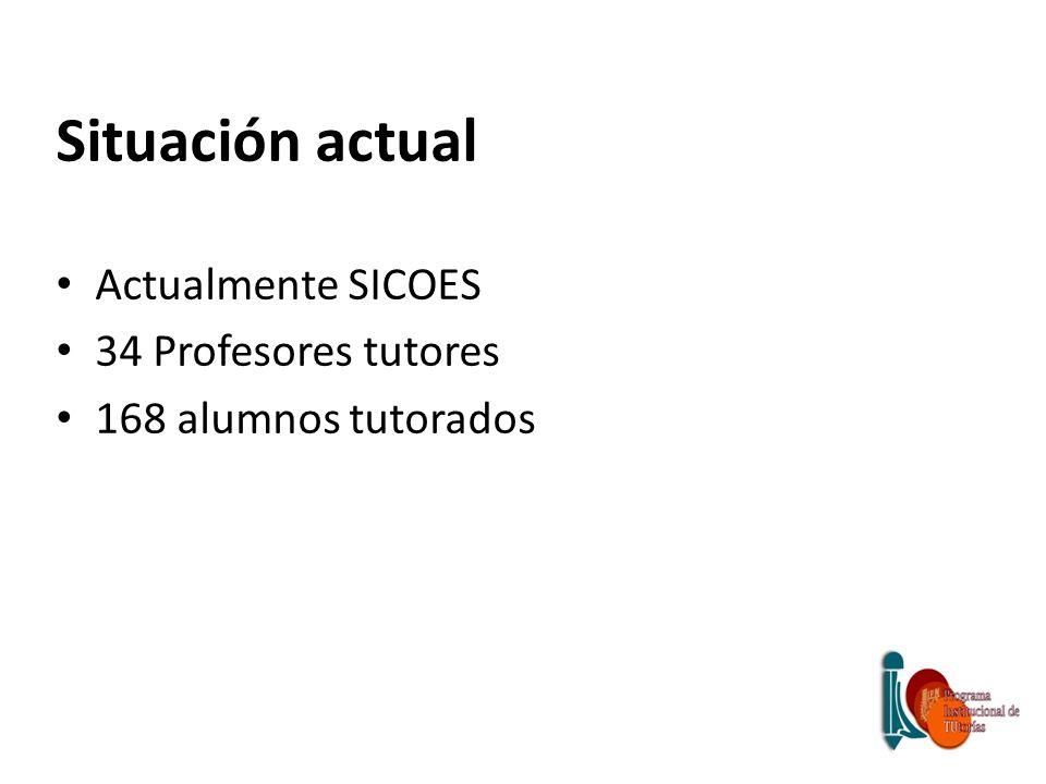Situación actual Actualmente SICOES 34 Profesores tutores