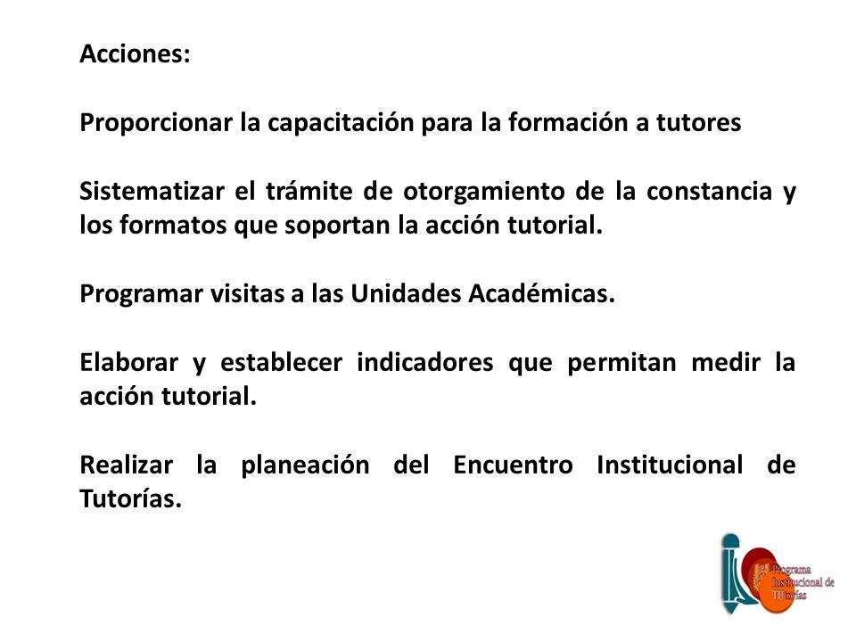 Acciones: Proporcionar la capacitación para la formación a tutores.
