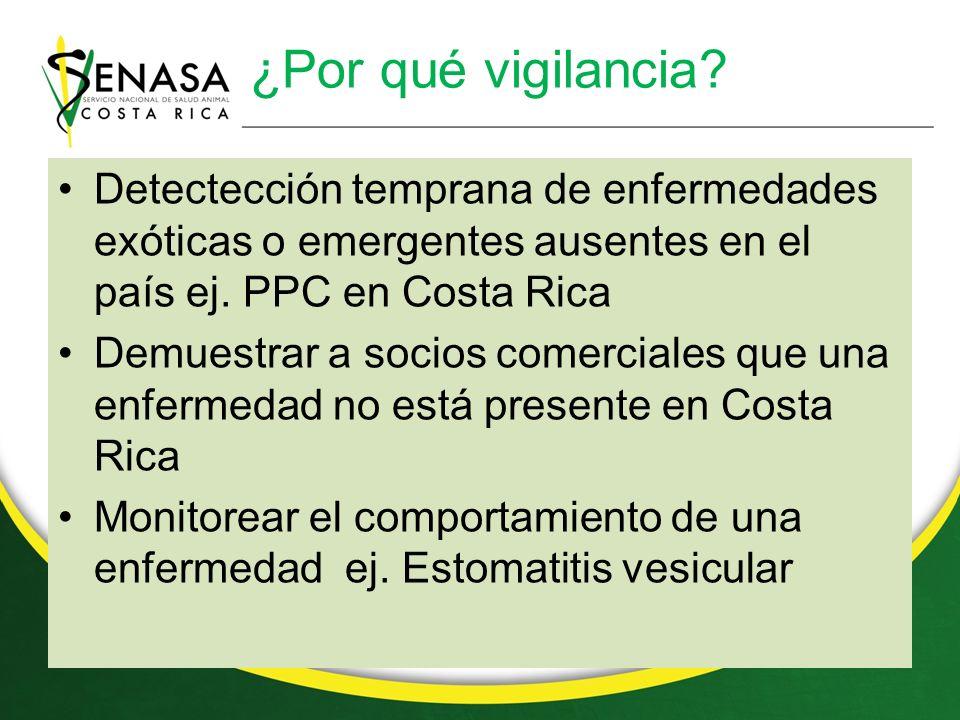¿Por qué vigilancia Detectección temprana de enfermedades exóticas o emergentes ausentes en el país ej. PPC en Costa Rica.