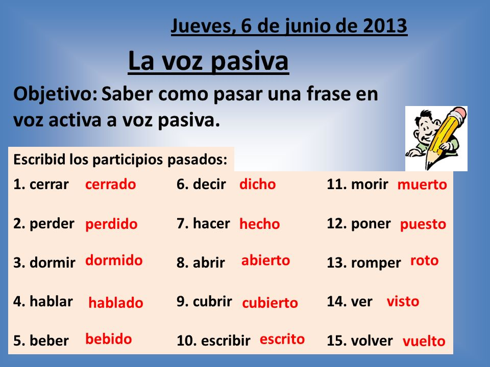 Objetivo: Saber como pasar una frase en voz activa a voz pasiva.