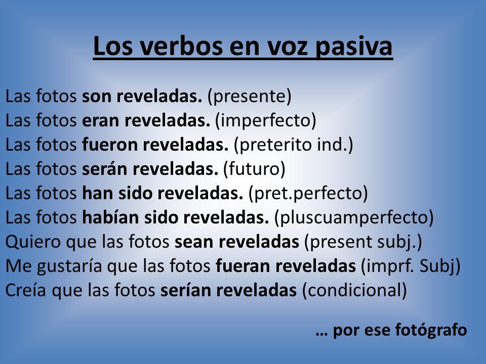 Los verbos en voz pasiva