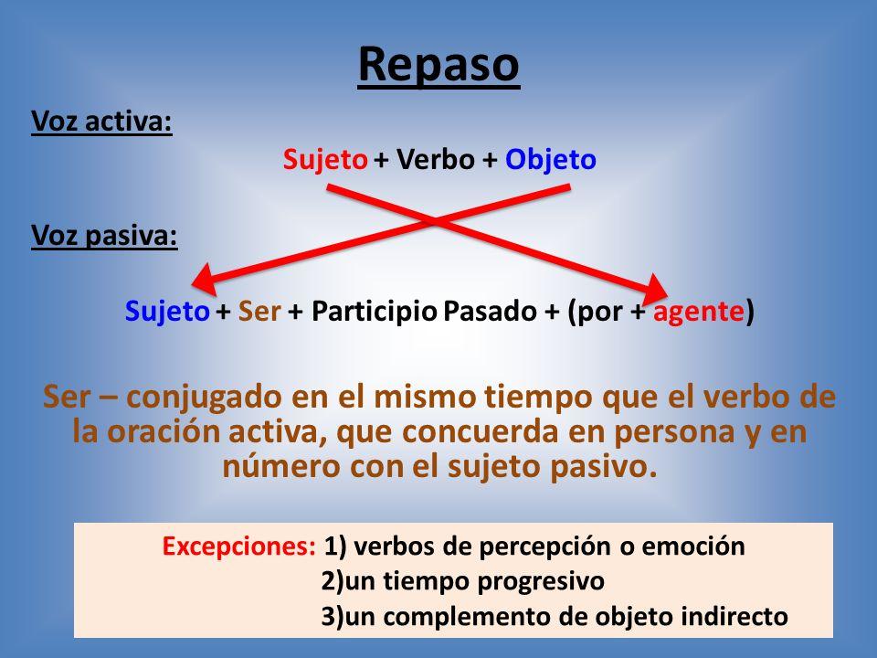 Repaso Voz activa: Sujeto + Verbo + Objeto. Voz pasiva: Sujeto + Ser + Participio Pasado + (por + agente)