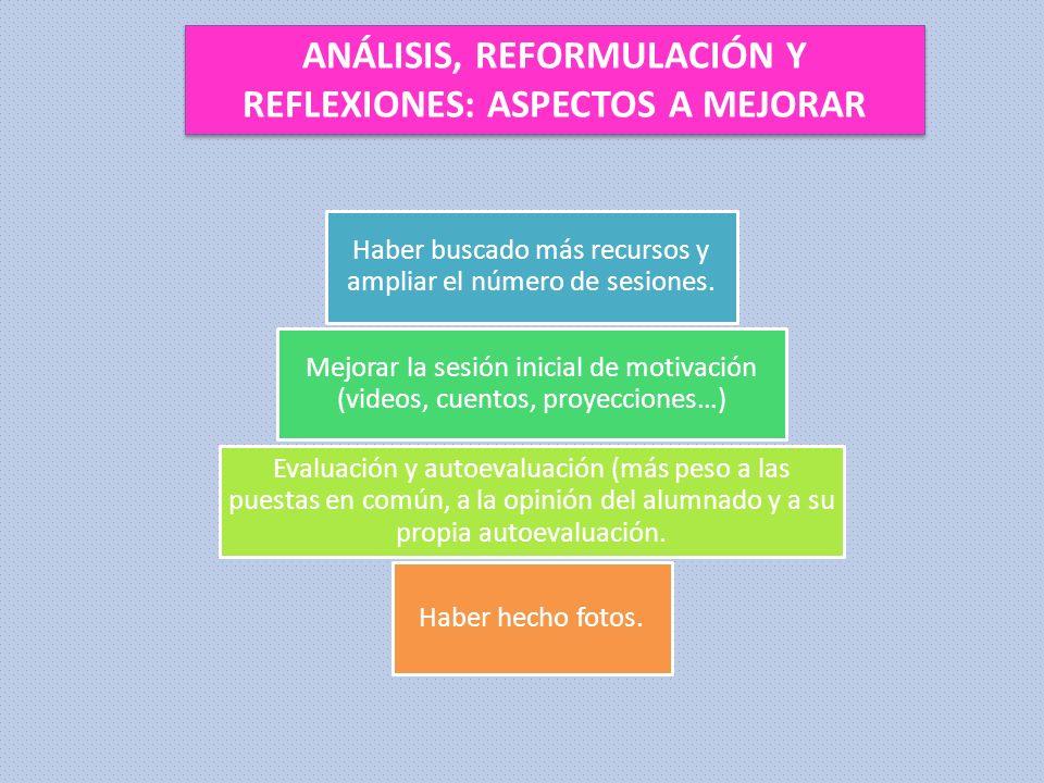 ANÁLISIS, REFORMULACIÓN Y REFLEXIONES: ASPECTOS A MEJORAR