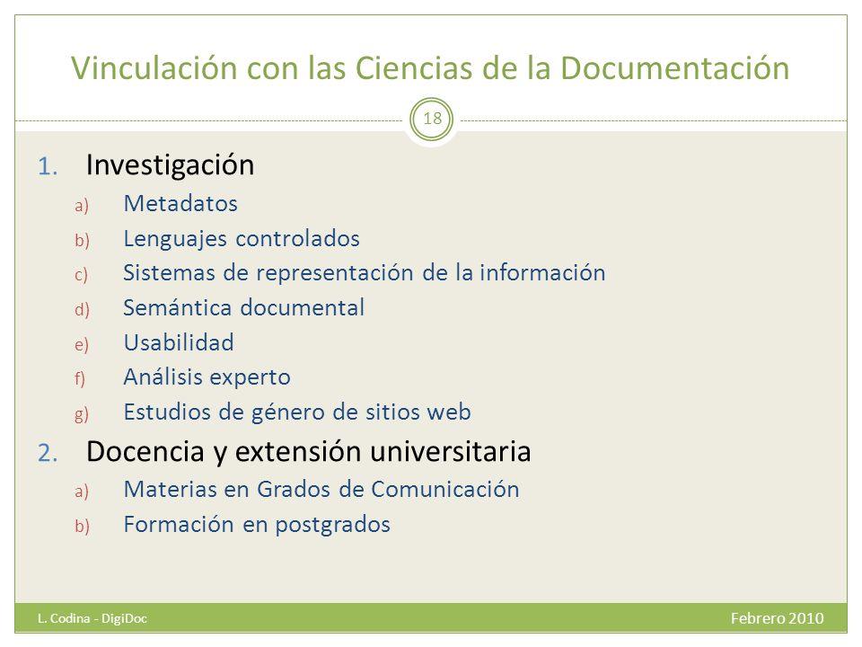 Vinculación con las Ciencias de la Documentación