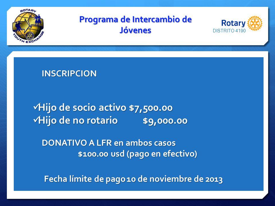 Programa de Intercambio de Jóvenes $100.00 usd (pago en efectivo)