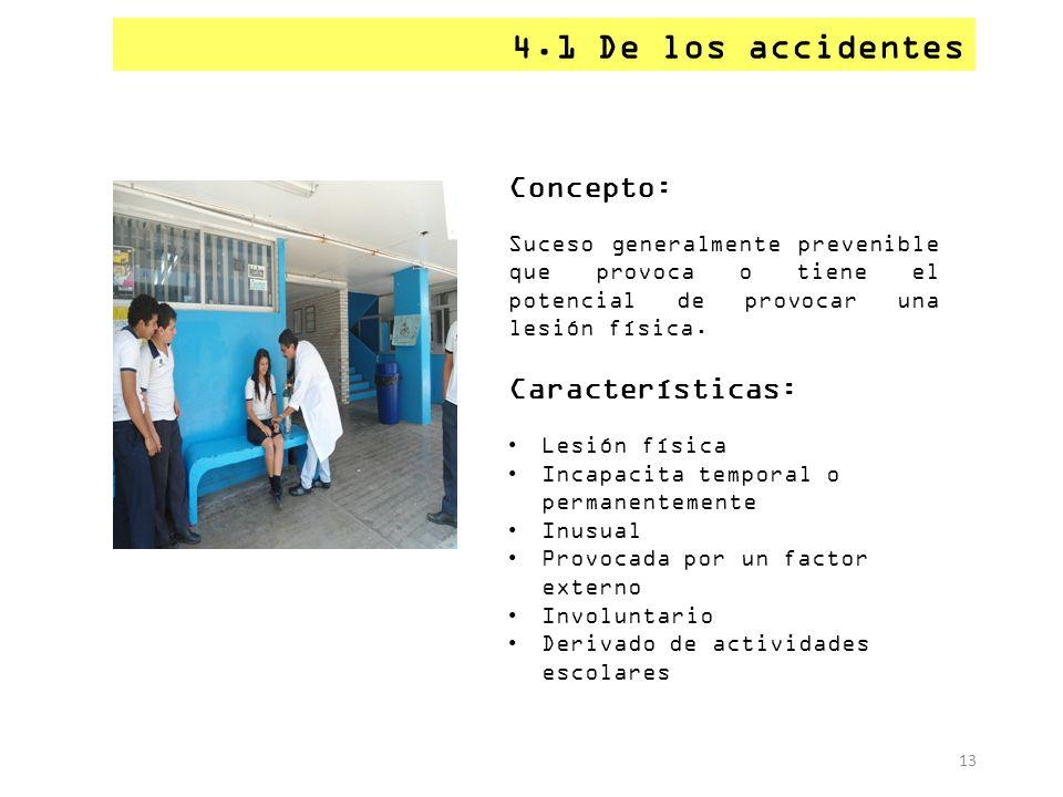 4.1 De los accidentes Concepto: Características: