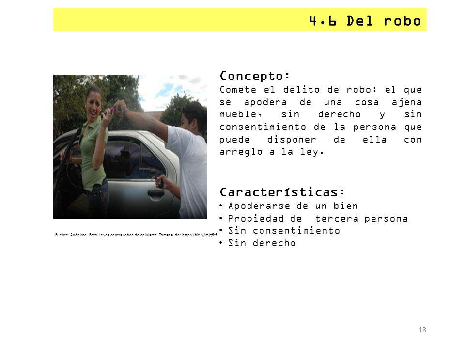 4.6 Del robo Concepto: Características: