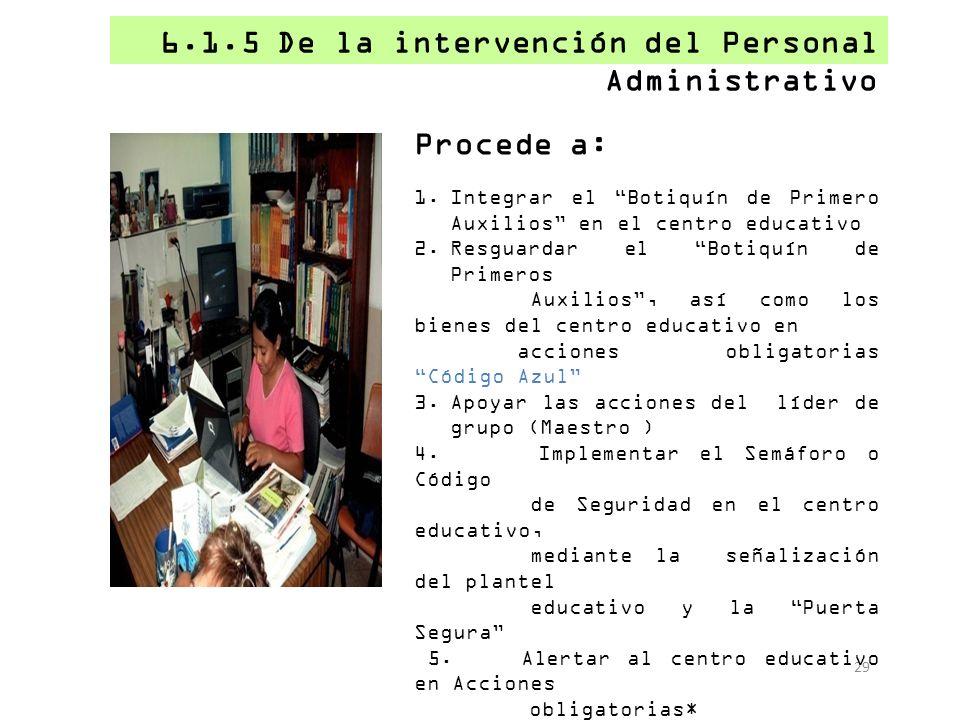 6.1.5 De la intervención del Personal Administrativo