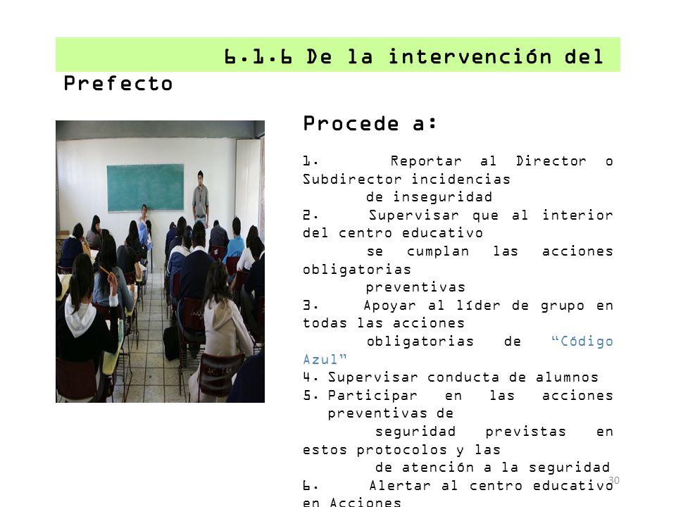 Procede a: 6.1.6 De la intervención del Prefecto