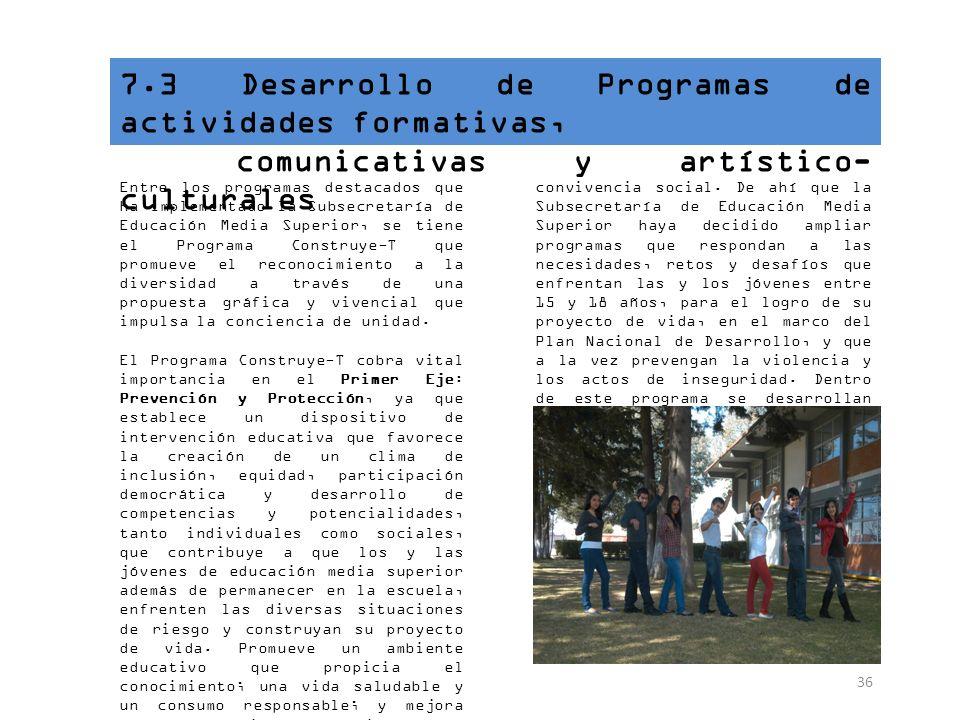 7.3 Desarrollo de Programas de actividades formativas,