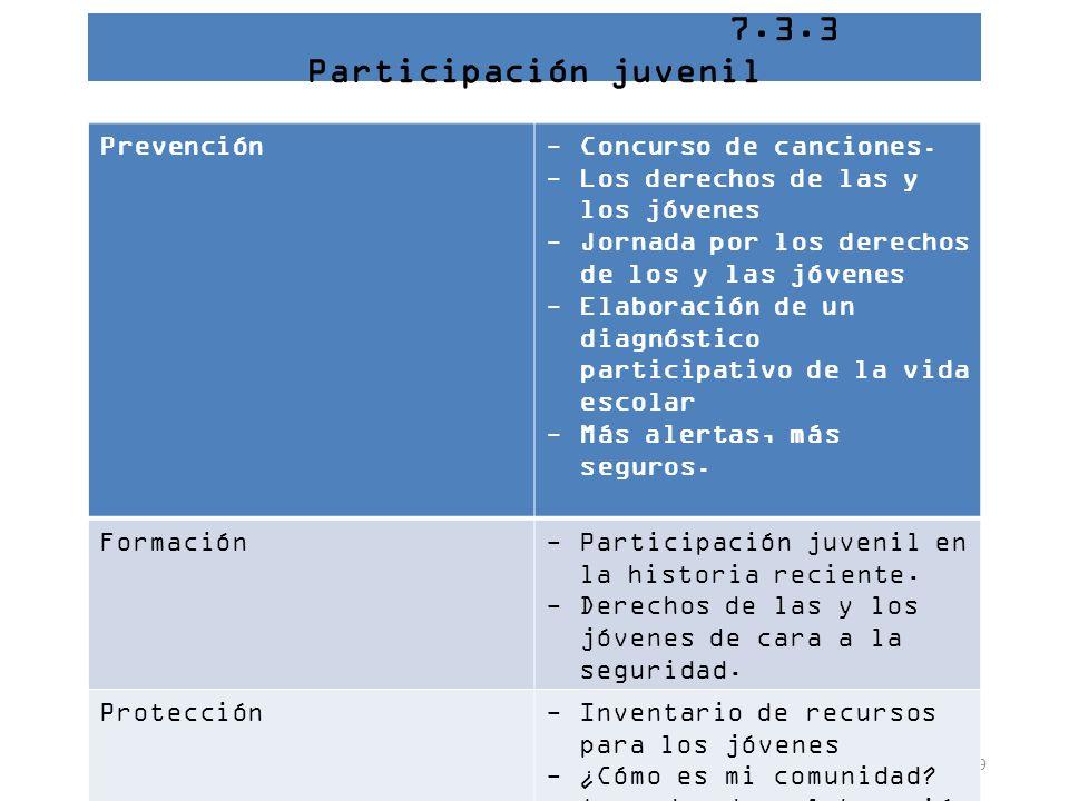 7.3.3 Participación juvenil