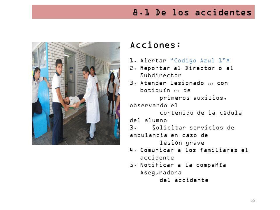 8.1 De los accidentes Acciones: Alertar Código Azul 1 *