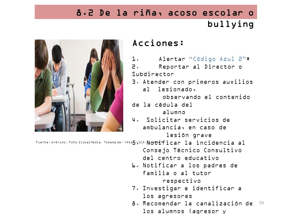 8.2 De la riña, acoso escolar o bullying