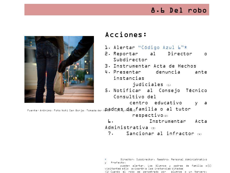 8.6 Del robo Acciones: Alertar Código Azul 6 *
