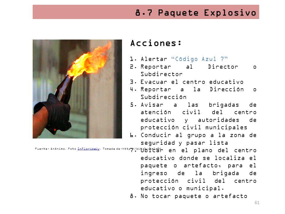 8.7 Paquete Explosivo Acciones: Alertar Código Azul 7