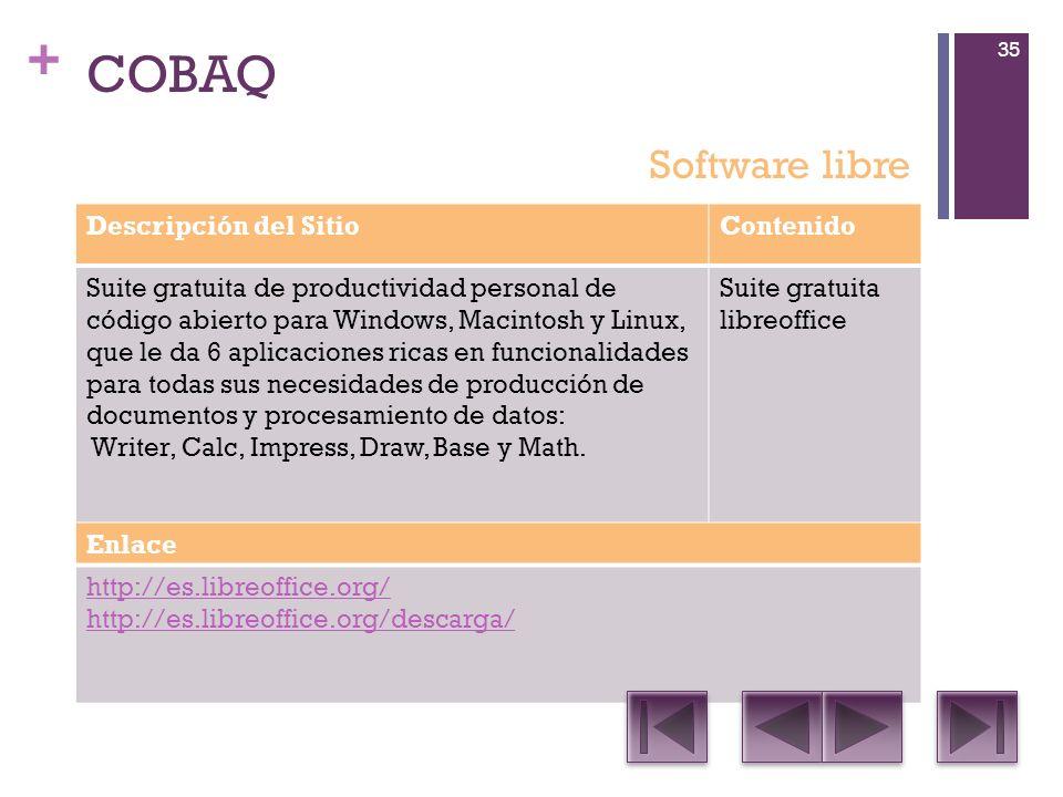 COBAQ Software libre Descripción del Sitio Contenido