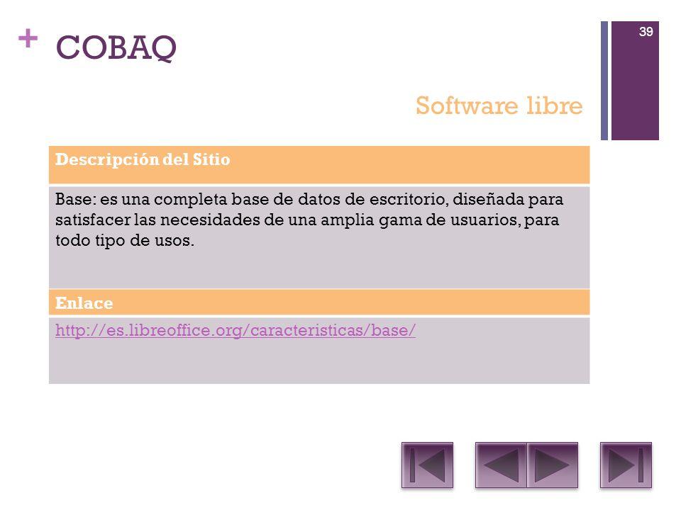 COBAQ Software libre Descripción del Sitio