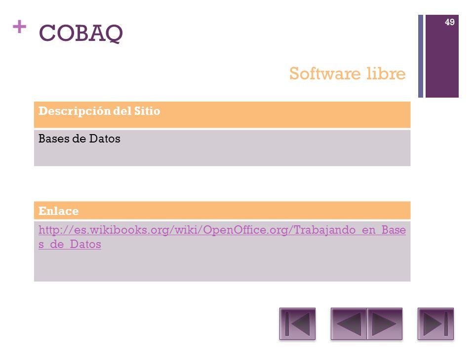 COBAQ Software libre Descripción del Sitio Bases de Datos Enlace