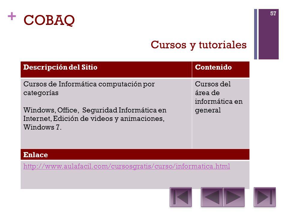 COBAQ Cursos y tutoriales Descripción del Sitio Contenido