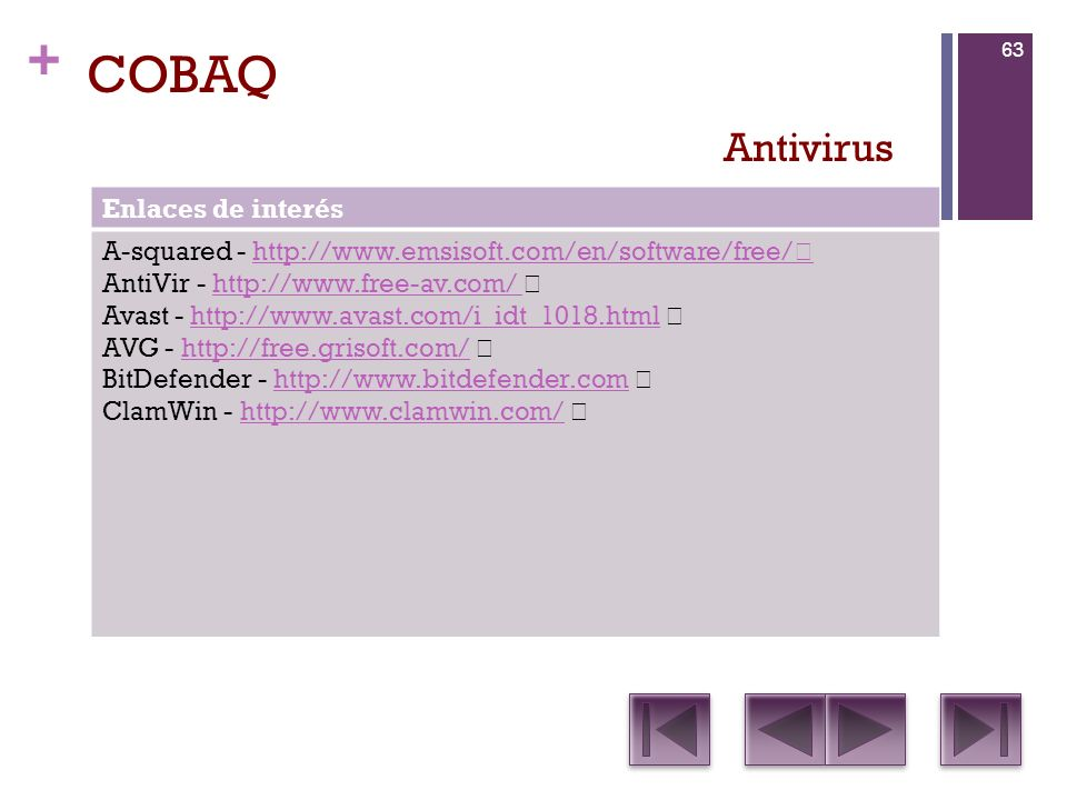 COBAQ Antivirus Enlaces de interés