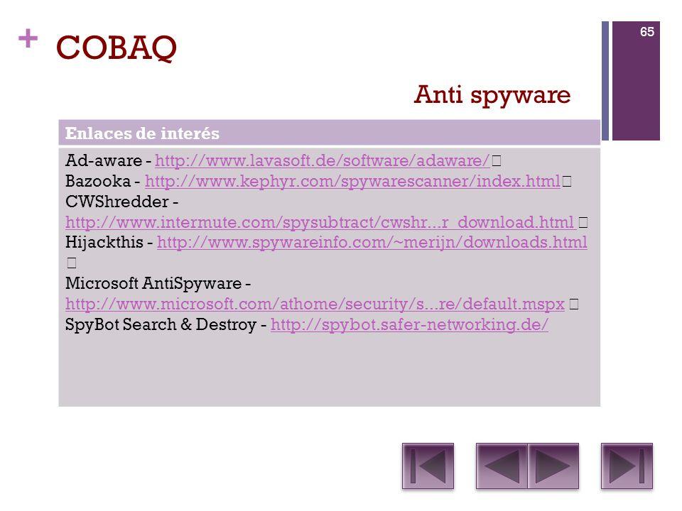 COBAQ Anti spyware Enlaces de interés