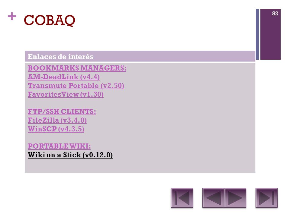 COBAQ Enlaces de interés BOOKMARKS MANAGERS: AM-DeadLink (v4.4)