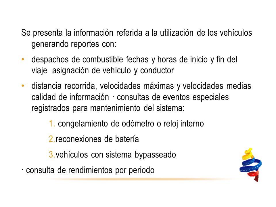 Se presenta la información referida a la utilización de los vehículos generando reportes con: