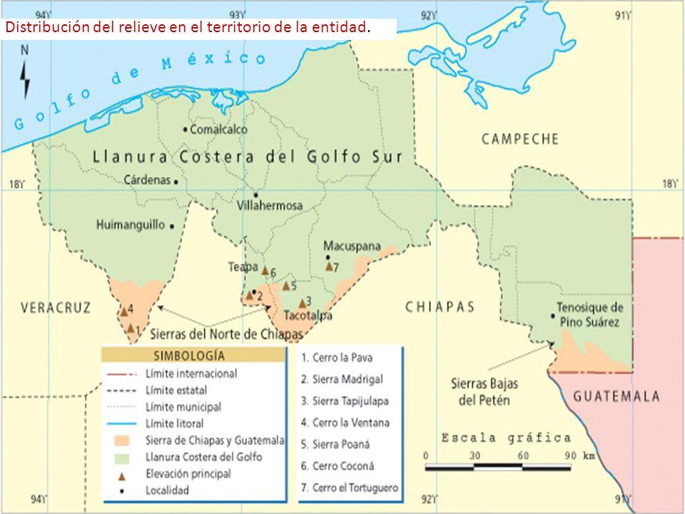 Distribución del relieve en el territorio de la entidad.