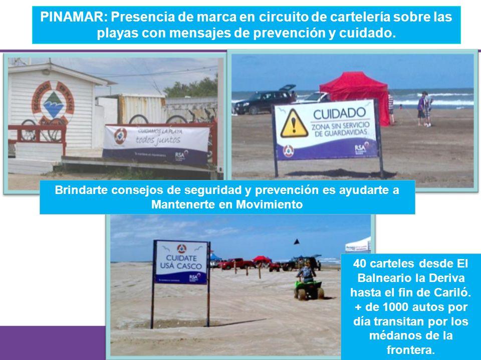 PINAMAR: Presencia de marca en circuito de cartelería sobre las playas con mensajes de prevención y cuidado.