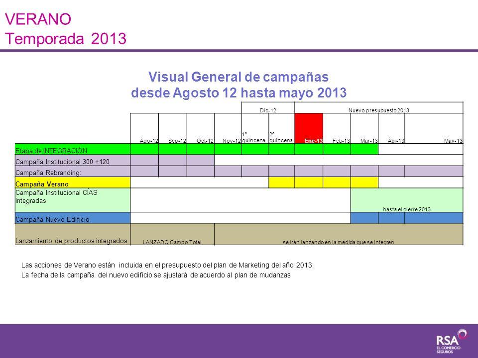 Visual General de campañas desde Agosto 12 hasta mayo 2013