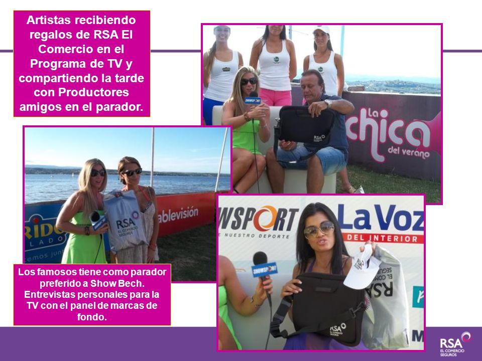 Artistas recibiendo regalos de RSA El Comercio en el Programa de TV y compartiendo la tarde con Productores amigos en el parador.