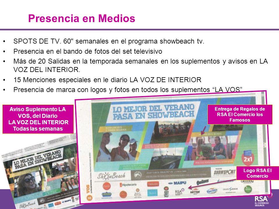 Presencia en Medios SPOTS DE TV. 60 semanales en el programa showbeach tv. Presencia en el bando de fotos del set televisivo.
