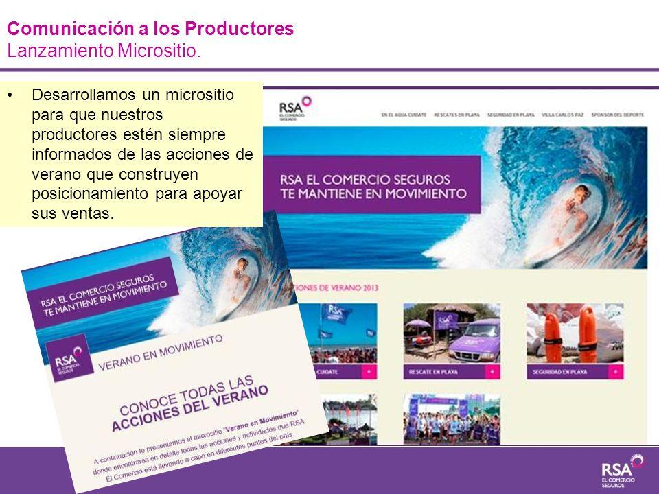Comunicación a los Productores Lanzamiento Micrositio.