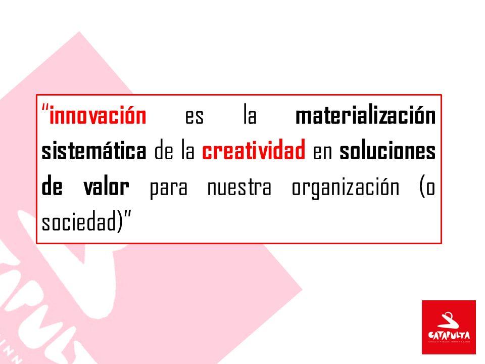 innovación es la materialización sistemática de la creatividad en soluciones de valor para nuestra organización (o sociedad)