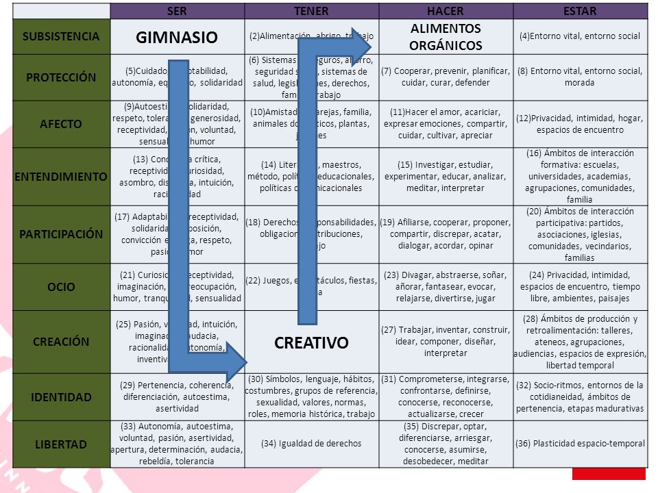 GIMNASIO CREATIVO ALIMENTOS ORGÁNICOS SER TENER HACER ESTAR