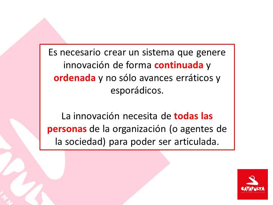 Es necesario crear un sistema que genere innovación de forma continuada y ordenada y no sólo avances erráticos y esporádicos.