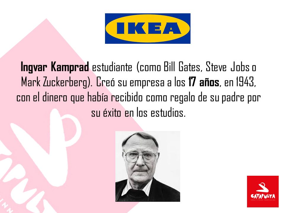 Ingvar Kamprad estudiante (como Bill Gates, Steve Jobs o Mark Zuckerberg).