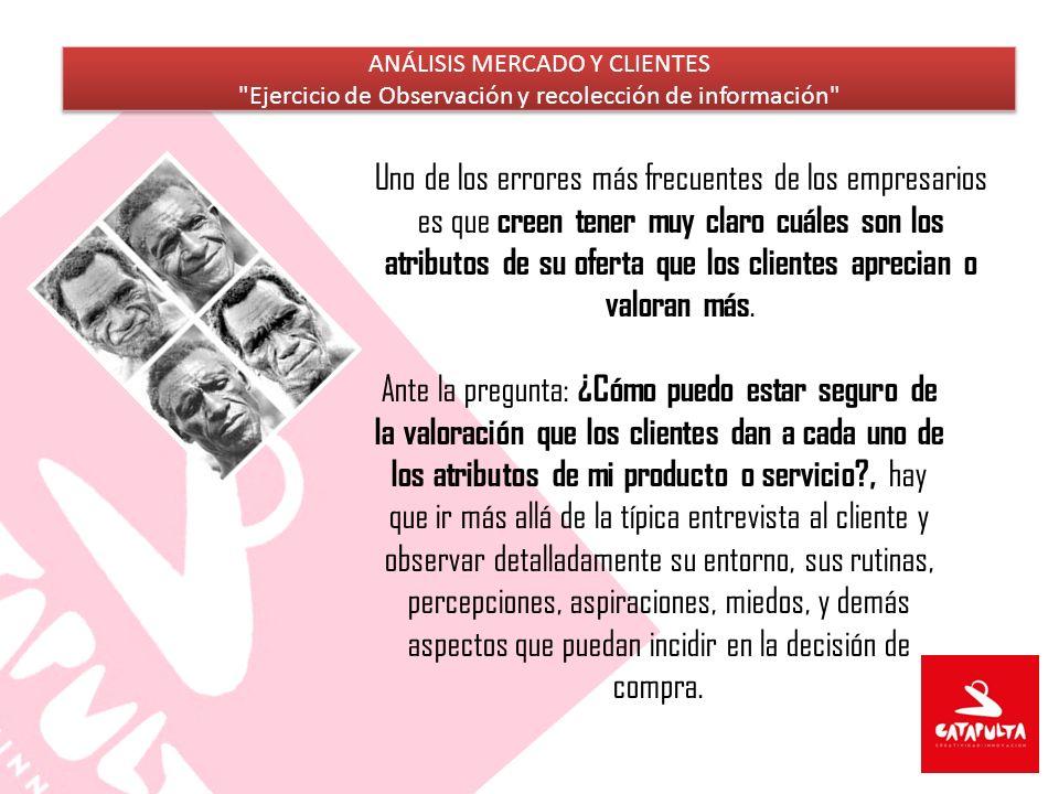 ANÁLISIS MERCADO Y CLIENTES Ejercicio de Observación y recolección de información