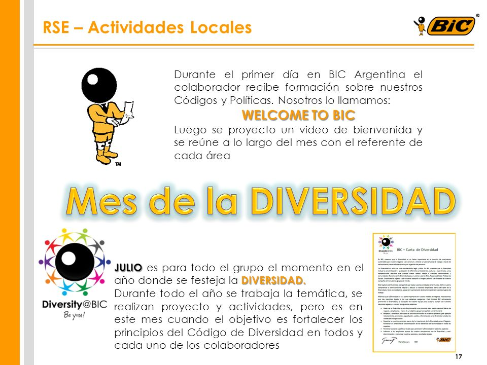 Mes de la DIVERSIDAD RSE – Actividades Locales WELCOME TO BIC