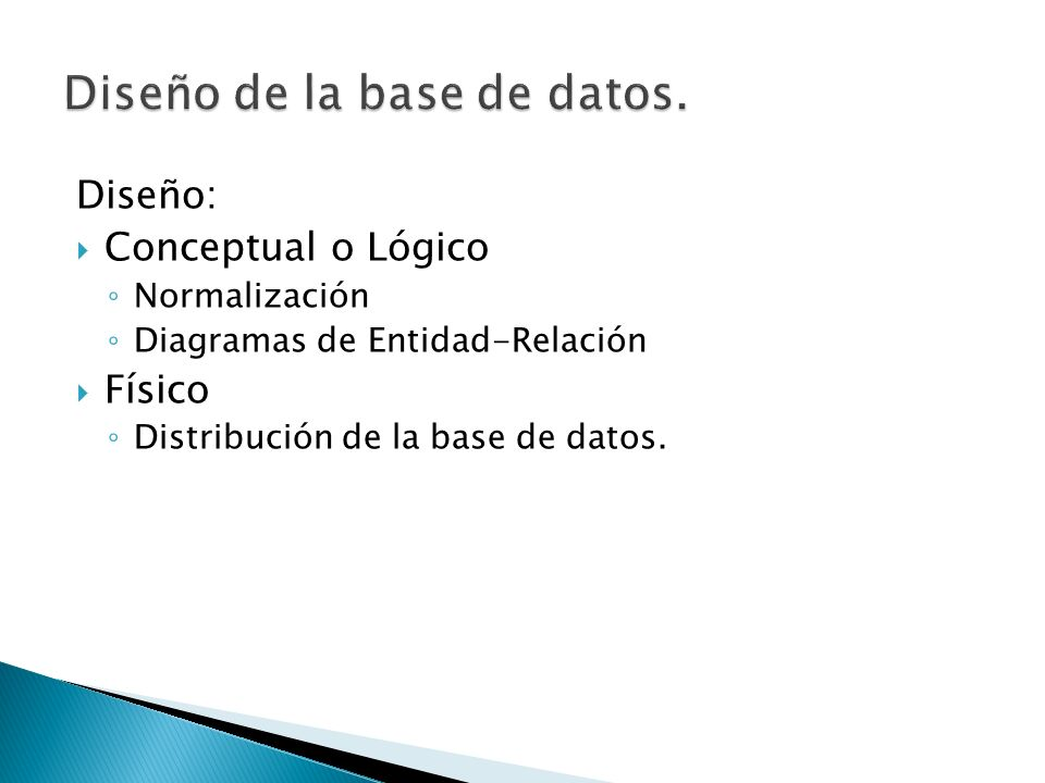 Diseño de la base de datos.
