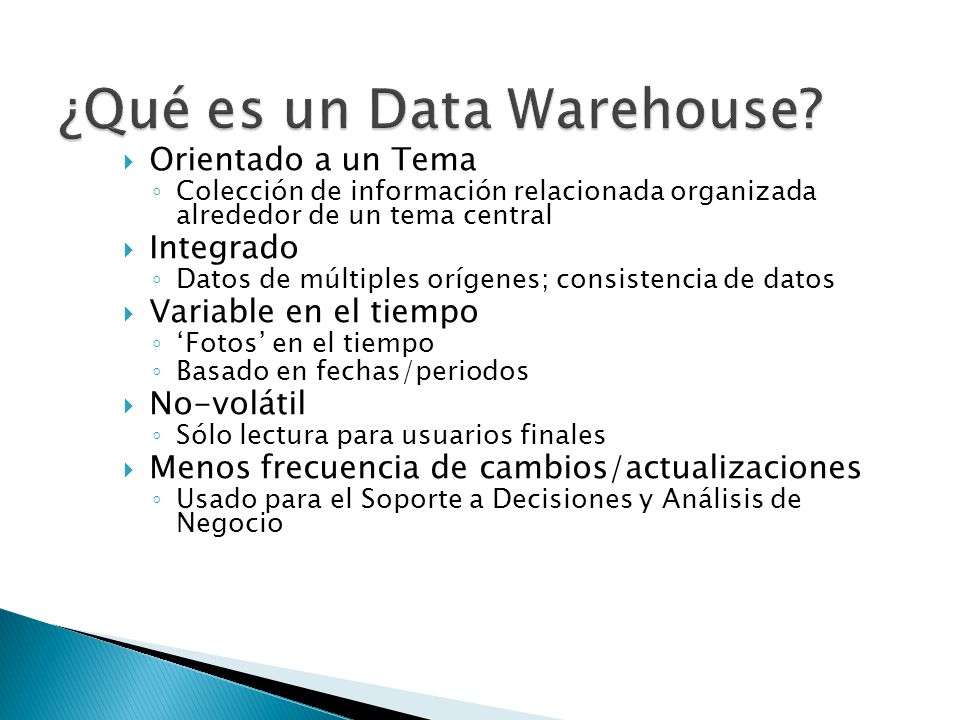 ¿Qué es un Data Warehouse