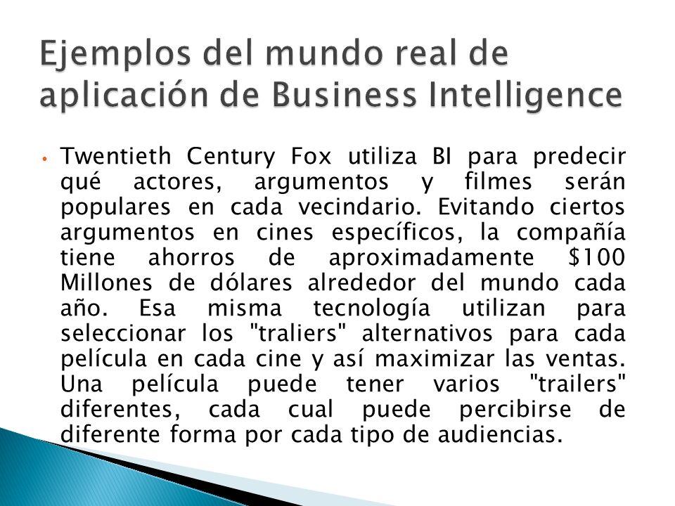 Ejemplos del mundo real de aplicación de Business Intelligence