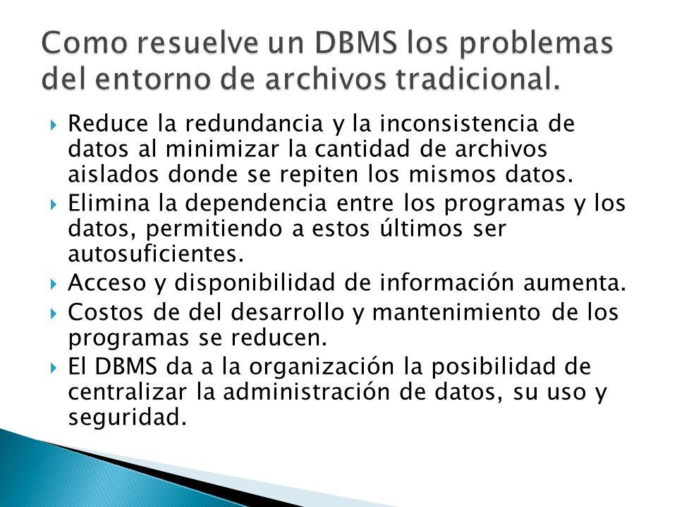 Como resuelve un DBMS los problemas del entorno de archivos tradicional.