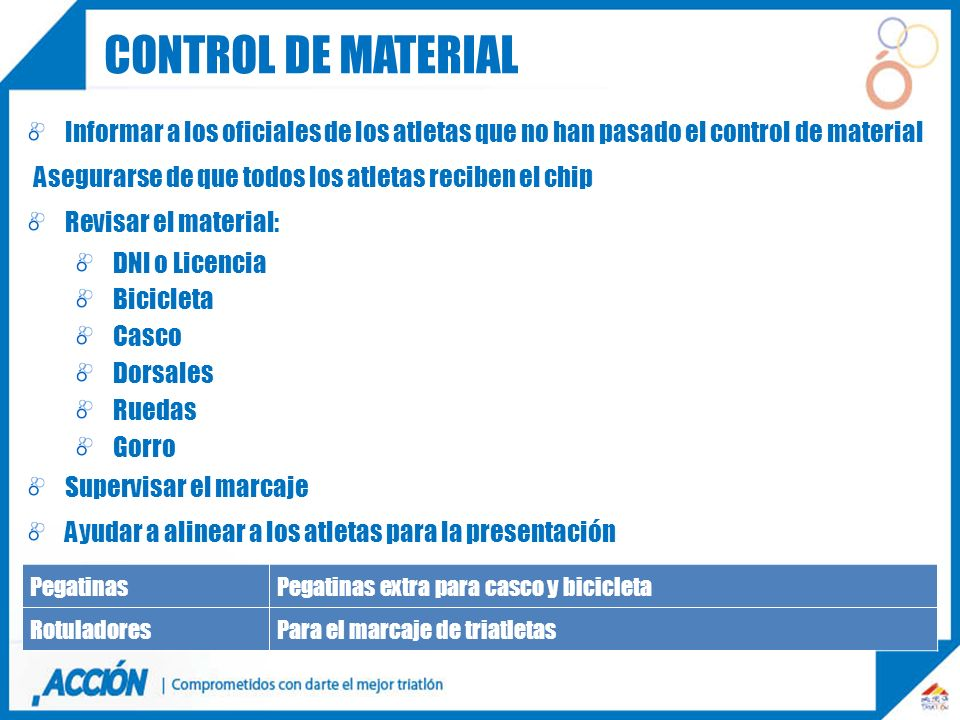 Control de material Informar a los oficiales de los atletas que no han pasado el control de material.