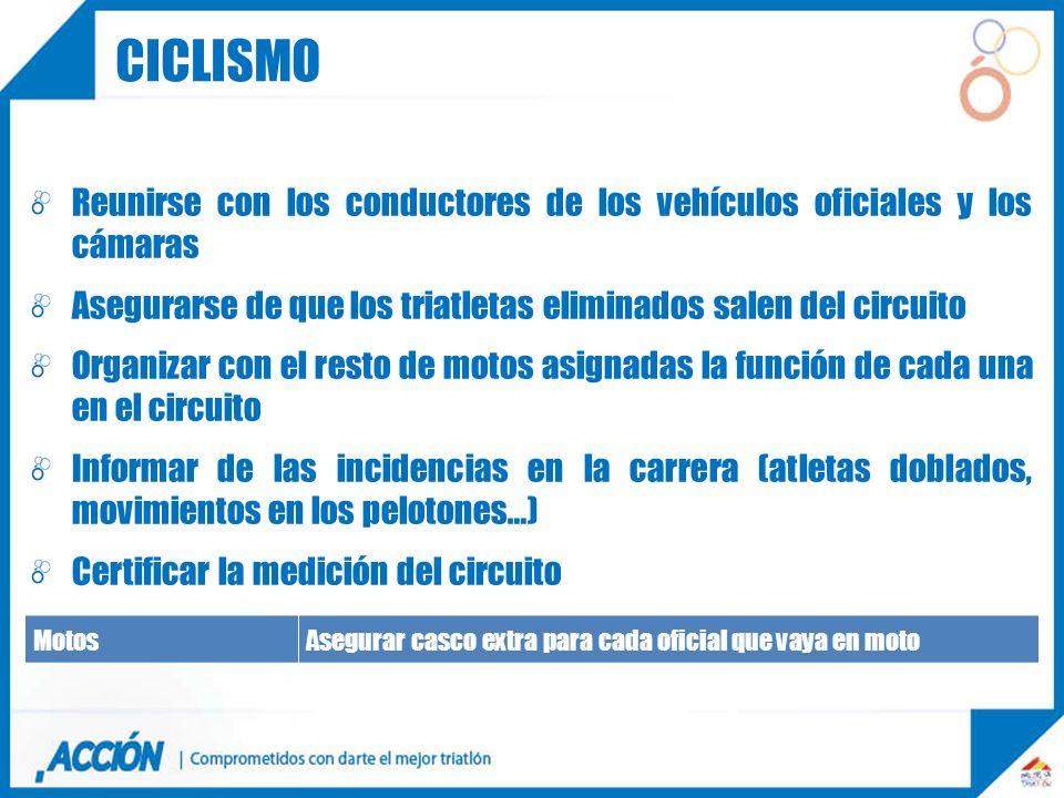 ciclismo Reunirse con los conductores de los vehículos oficiales y los cámaras. Asegurarse de que los triatletas eliminados salen del circuito.