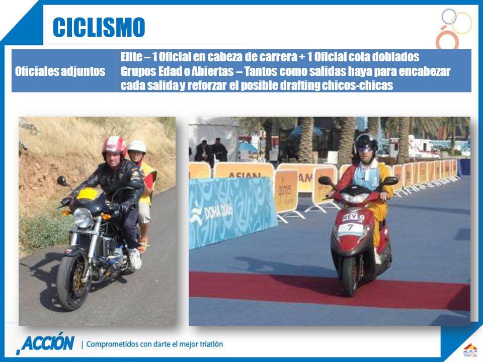 ciclismo Oficiales adjuntos. Elite – 1 Oficial en cabeza de carrera + 1 Oficial cola doblados.